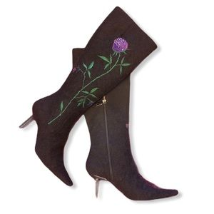 Vintage Purple Rose Black Suede Heeled Boots